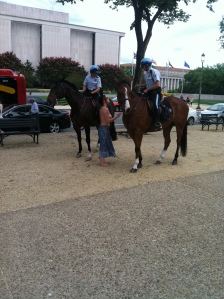 National Mall, Washington D.C. Summer 2015.  Discussing gender equality with female police officers.