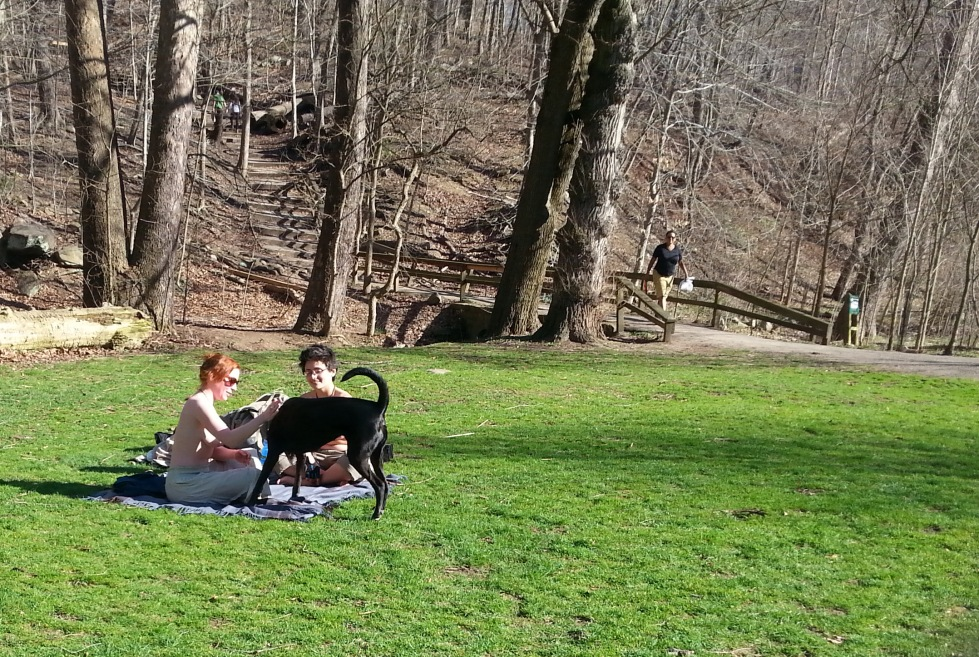 Frick Park, Pittsburgh, Pennsylvania, March 2016.  Our first outing after receiving confirmation from the Pittsburgh Bureau of Police legal department that female bare-chestedness is legal in Pennsylvania.